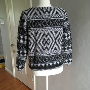 Lucky Brand Sweaters - Lucky Brand | Patterned Cotton Sweater Black White